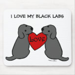 Two Black Labradors with Love Cartoon Mousepads