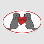 Two Black Labradors with Love Cartoon Oval Sticker