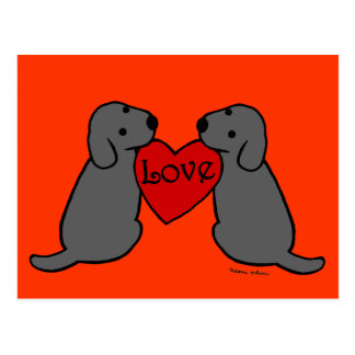 Two Black Labradors with Love Cartoon Postcards