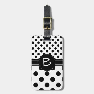 Two Black Polka Dot Patterns Monogram Luggage Tag