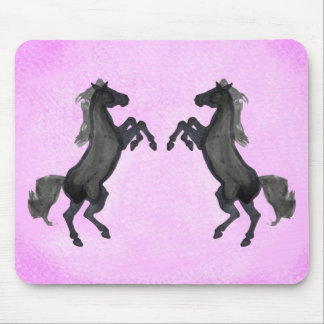 Two Black Rearing Horse On Pink Background Mouse Pads