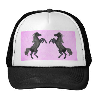 Two Black Rearing Horse On Pink Background Trucker Hat