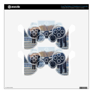 Two black scottish highlanders in frozen meadow PS3 controller decals