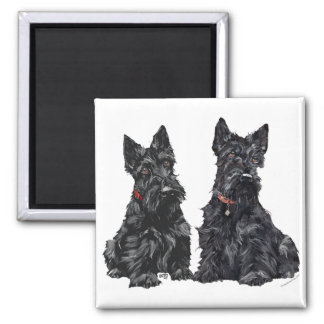 Two Black Scottish Terriers 2 Inch Square Magnet