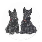 Two Black Scottish Terriers Round Sticker
