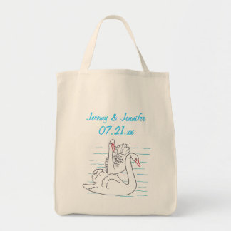 Two Black Swans Drawing Bride Tote Bags