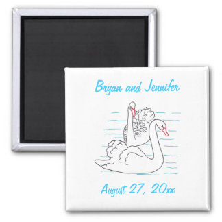 Two Black Swans Drawing Save the date Magnets