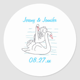 Two Black Swans Drawing Save the date Stickers