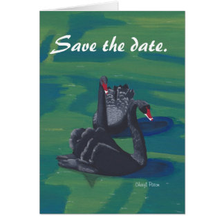 Two Black Swans Save the Date Note Cards