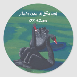 Two Black Swans Swimming Personalized Date Sticker