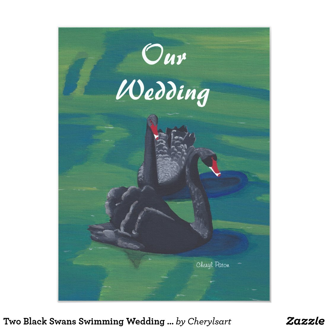Two Black Swans Swimming Wedding Invitations