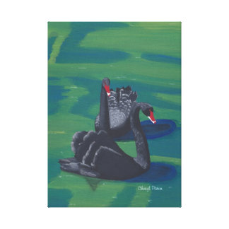 Two Black Swans Swimming Wrapped Canvas