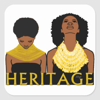 Two Black Women Wearing Tribal Necklaces Square Sticker