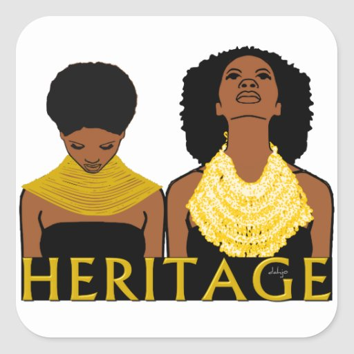 Two Black Women Wearing Tribal Necklaces Stickers