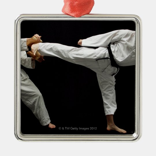 Two Blackbelts Sparring 2 Metal Ornament