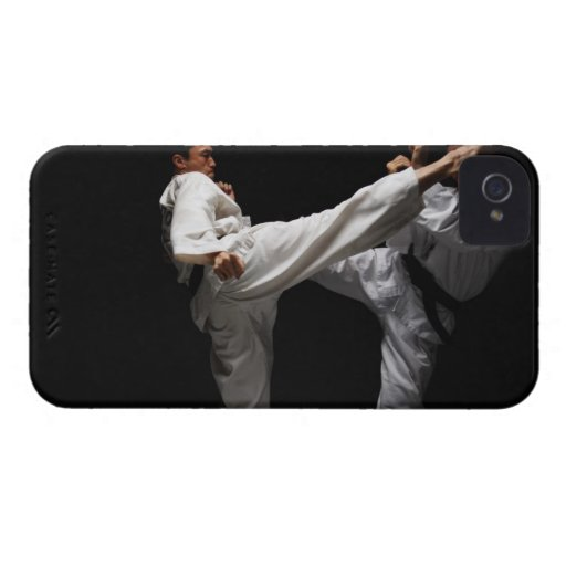 Two Blackbelts Sparring iPhone 4 Case-Mate Case