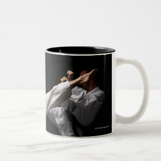 Two Blackbelts Sparring Two-Tone Coffee Mug