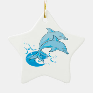 Two Blue Bottlenose Dolphins Jumping Out of Water Ceramic Ornament