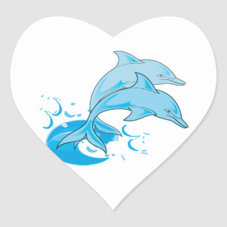 Two Blue Bottlenose Dolphins Jumping Out of Water Heart Sticker