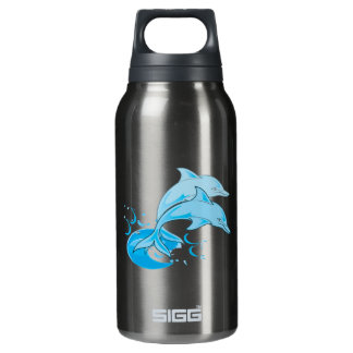 Two Blue Bottlenose Dolphins Jumping Out of Water Insulated Water Bottle
