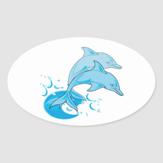 Two Blue Bottlenose Dolphins Jumping Out of Water Oval Sticker