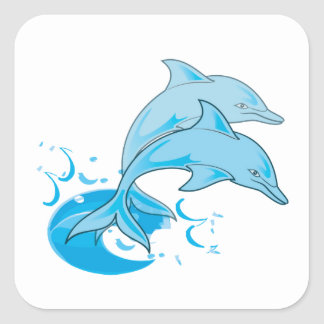 Two Blue Bottlenose Dolphins Jumping Out of Water Square Sticker