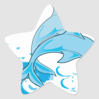 Two Blue Bottlenose Dolphins Jumping Out of Water Star Sticker