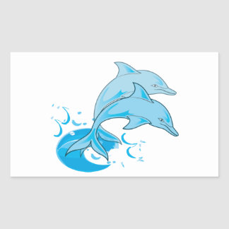 Two Blue Bottlenose Dolphins Jumping Out of Water Rectangular Sticker