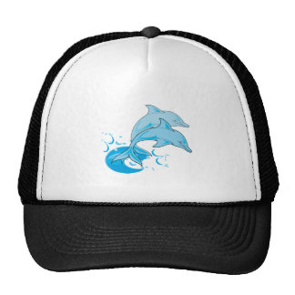 Two Blue Bottlenose Dolphins Jumping Out of Water Trucker Hat