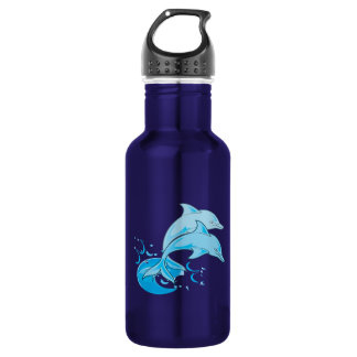 Two Blue Bottlenose Dolphins Jumping Out of Water Water Bottle