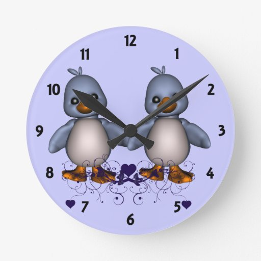 Two Blue Ducks Childrens Learning Wall Clock