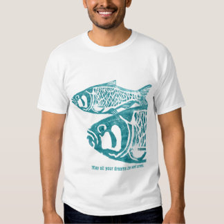 Two Blue Fishes Lino Block Print T Shirts