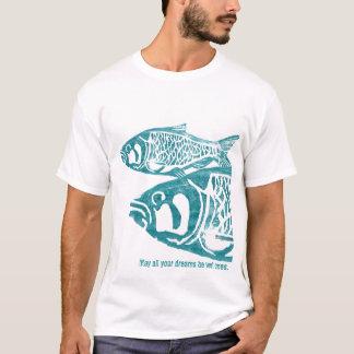 Two Blue Fishes Lino Block Print T Shirts