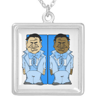 Two Blue Grooms Square Pendant Necklace
