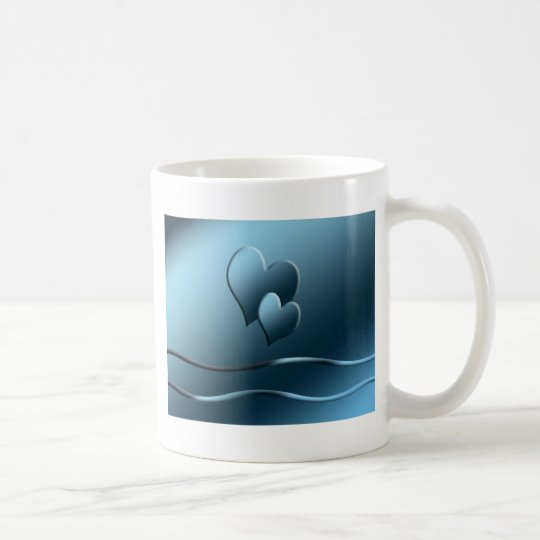 Two blue  hearts coffee mug