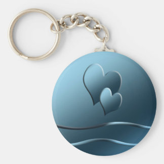 Two blue  hearts keychain