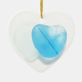 Two Blue Hearts Christmas Tree Ornament
