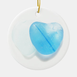 Two Blue Hearts Christmas Ornament