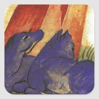 Two Blue Horses in front of a Red Roc by Franz Mar Square Sticker