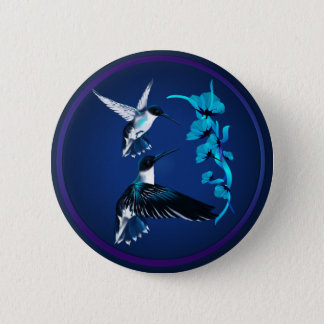 Two Blue Hummingbirds Button