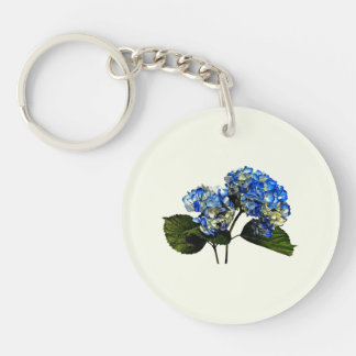Two Blue Hydrangea With Leaves Double-Sided Round Acrylic Keychain