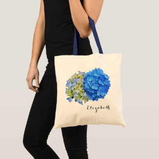 Two Blue Hydrangeas Personalized Name Tote