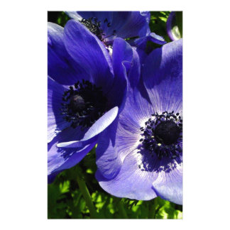 Two Blue Mauve Anemone - Close Up Windflowers Stationery