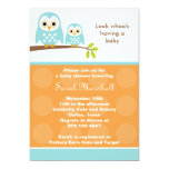 Two Blue Owls Baby Shower Invitations (Orange) Personalized Announcements