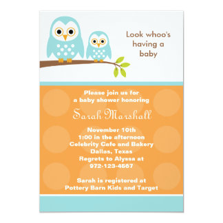 Two Blue Owls Baby Shower Invitations (Orange)