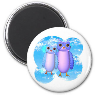 Two blue owls stand in this Valart.com design Magnet