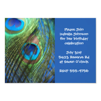 Two Blue Peacock Feathers Birthday 5x7 Paper Invitation Card