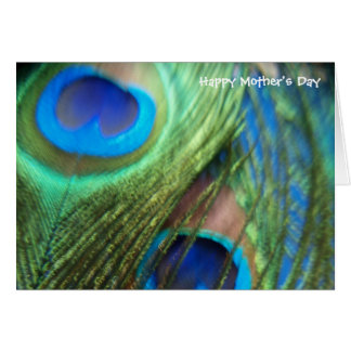 Two Blue Peacock Feathers Mother's Day Card