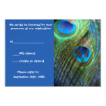 Two Blue Peacock Feathers RSVP Custom Invites