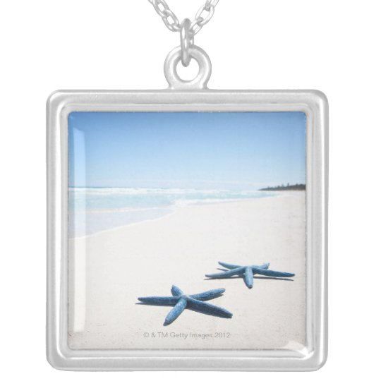 Two blue starfish at water's edge on tropical 2 silver plated necklace